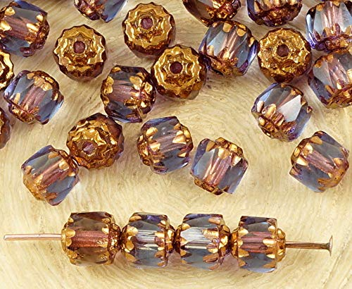 20pcs Crystal Alexandrite Purple Blue Metallic Bronze Gold Czech Glass Cathedral Faceted Fire Polished Beads Christmas 6mm