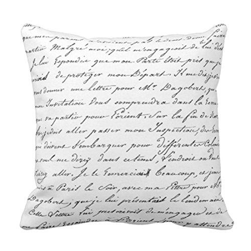 Emvency Throw Pillow Cover France Paris French Script Chic Apt Decorative Pillow Case Home Decor Square 18 x 18 Inch Pillowcase