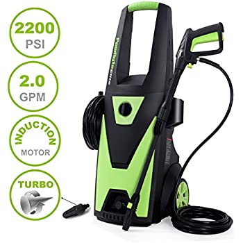 PowRyte Elite Electric Pressure Washer, 2200PSI 2.0GPM Power Washer with Extra Turbo Nozzle, Induction Motor
