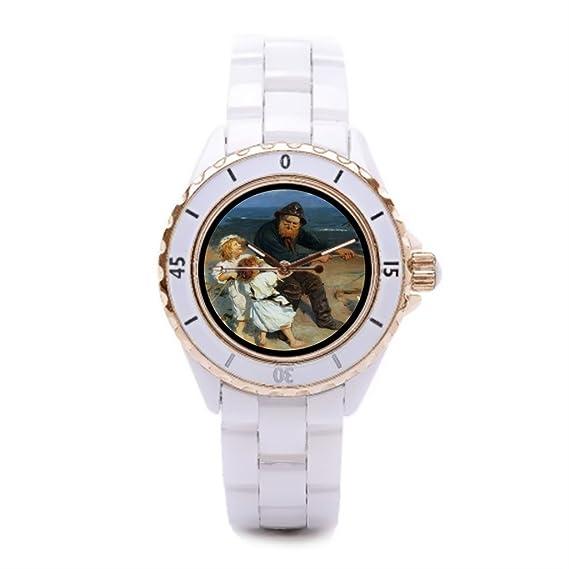 Queensland cerámica relojes relojes de muñeca de cuerda para tirar barato niña con el abuelo: Amazon.es: Relojes