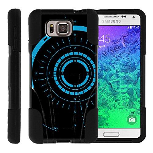 TurtleArmor | Samsung Galaxy Alpha Case | G850 [Gel Max] Dual Layer Hybrid Shock Silicone Hard Shell Case Kickstand Cool Designs - Blue Tron Target