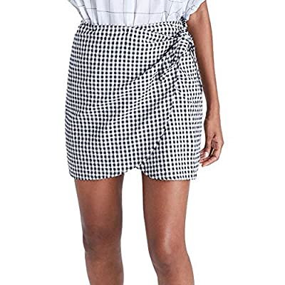 Londony ???Women Pencil Skirt, Plaid Pattern High Waist, Irregular Casual Lace-Up, Mini Skirt