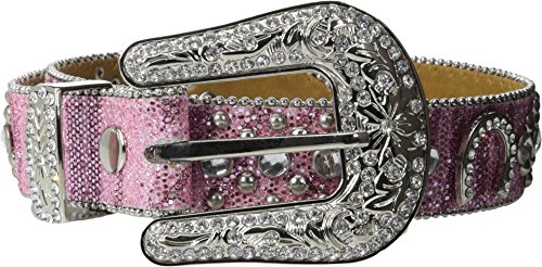 Nocona Girls' Glittery Horseshoe Concho Western Belt Pink 22
