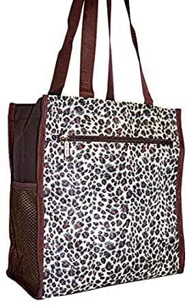 J Garden Gold Leopard Canvas Travel Tote Bag with Coin Purse 12-inch