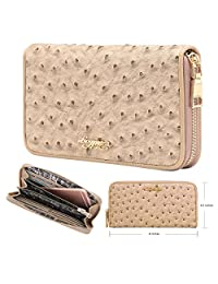Aitbags Wallet for Women Soft Ostrich Embossed PU Leather Clutch Long Purse