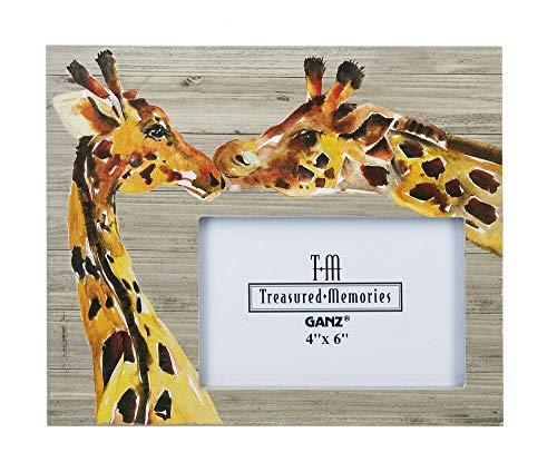 "Ganz Treasured Memories Safari Giraffe 4"" x 6"" Photo Picture Frame 8"" x 9"" Love Grows ER52554 (Giraffe Horizontal)"