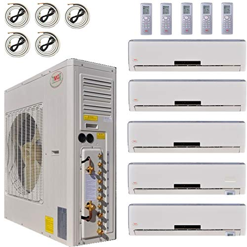 YMGI Multi Zone Mini Split Ductless Air Conditioner - Five Zone 9000 + 9000 + 12000 + 12000 + 24000-5 Zone Pre-Charged Inverter Compressor - Includes Five Free 25' Linesets - US Parts & Tech Support