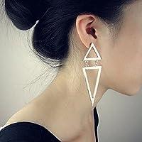 Cool Punk Vintage Silver Plated Cute Triangle Dangle Long Ear Stud Earrings