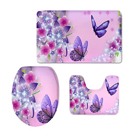(chaqlin Soft Flannel Non Slip Bath Rug Set Butterfly Pink Bathroom Mat Contour and Toilet Lid Cover)