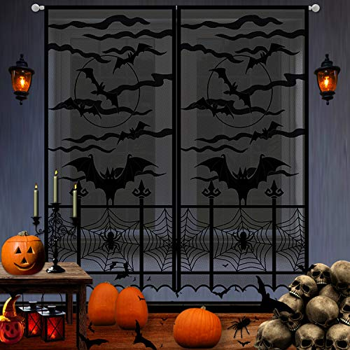 Halloween Set Decorations (2Pcs Halloween Black Lace Window Curtain | Extra Large 40