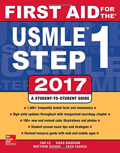 "First Aid for the USMLE Step 1 2017 by [""Tao Le"", ""Vikas Bhushan"", ""Matthew Sochat"", ""Yash Chavda""] cover"