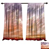 fengruiyanjing-Home Room Darkening Wide Curtains Americana Landscape Mystic Storm Sky Eastern High Sierra Vista Deserts Panorama Art Orange Lilac Decor Curtains (W107 x L96 -Inch 2 Panels)