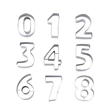 BESTONZON 9pcs molde para hornear números de acero inoxidable forma galleta galleta sello adecuado para la cocina de bricolaje (8,2 x 5,4 x 2,5 cm): ...