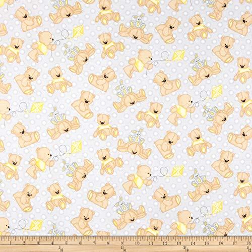 A.E. Nathan Comfy Flannel Print Teddy Bear Grey Fabric by The Yard (Fabric Teddy Bear)