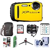 Fujifilm FinePix XP120 16.4MP Digital Camera, 5x Optical Zoom, Yellow - Bundle 32GB SDHC Card, Camera Case, Spare Battery, Desktop Tripod, Memory Wallet, Cleaning Kit, Card Reader, Software Pack