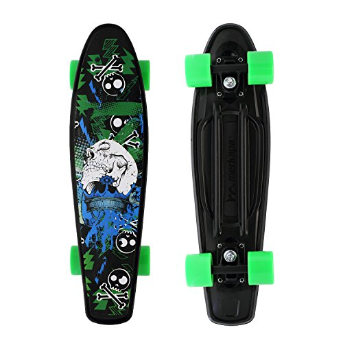 22' Aluminum Base (Merkapa Complete 22 inch Skull Style Skateboard for Kids, Beginners (Green))