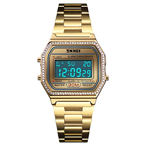 Women Watch Digital Sports Fashion Watch Electronic Waterproof Square Dial LED Luminous Watch Stainless Steel Band (Gold)