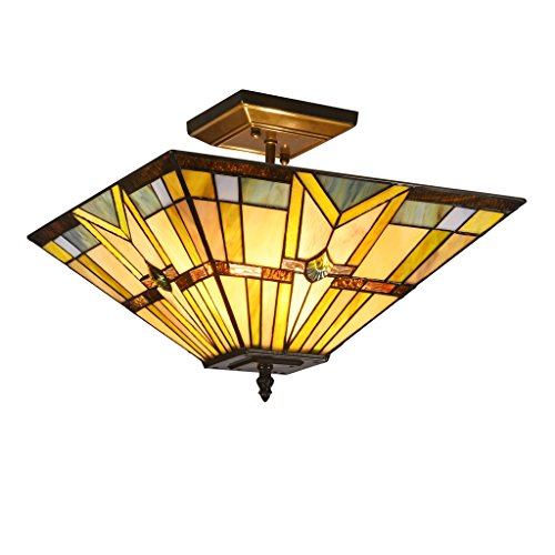 DOCHEER Tiffany-Style Mission Semi-Flush Mount Ceiling Light Fixture with 14.1 Inch Stained Glass Shade 2- Light Pendant Lamp for Dining Room, Kitchen, Bedroom