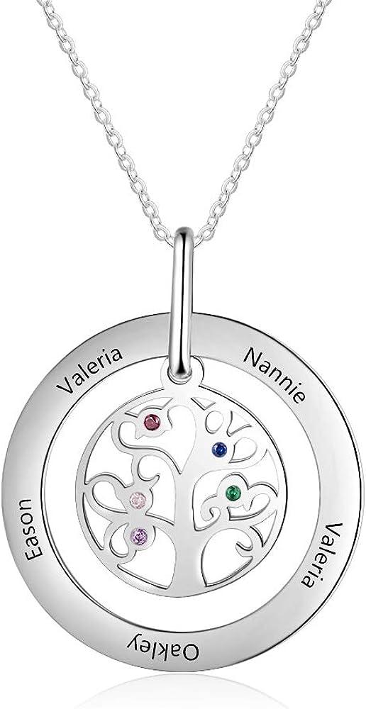 KAULULU Collar Mujer Árbol de la Vida Personalizado con 5 Piedras Collar Madre Colgante con Niño Nombres Joyas Grabadas Regalo de Cumpleaños para Mamá BFF