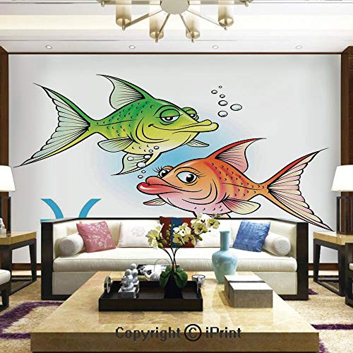 Lionpapa_mural Removable Wall Mural Ideal to Decorate Bedroom,or Office,Pisces Symbols with Pretty Love Couple Fish Nemo Birthday Romance Home Decor Decorative,Home Decor - 100x144 inches