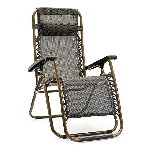 KING DO WAY Textoline Reclining Folding Sun Garden Patio Lounger Recliner Relaxer Chair