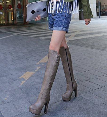 Femmes Weiyikang Bottes À Talons Hauts, Chaussures Plate-forme De La Mode Des Talons Bloc En Cuir Pu Fermeture Éclair Genou Bottes Gris