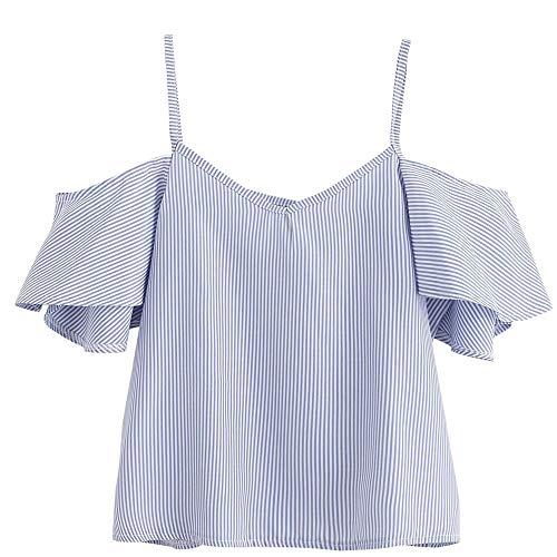 (Adeliber Women's Summer Pinstriped Shirt Cold Shoulder Top Sexy Off-Shoulder Vest T-Shirt Blue)