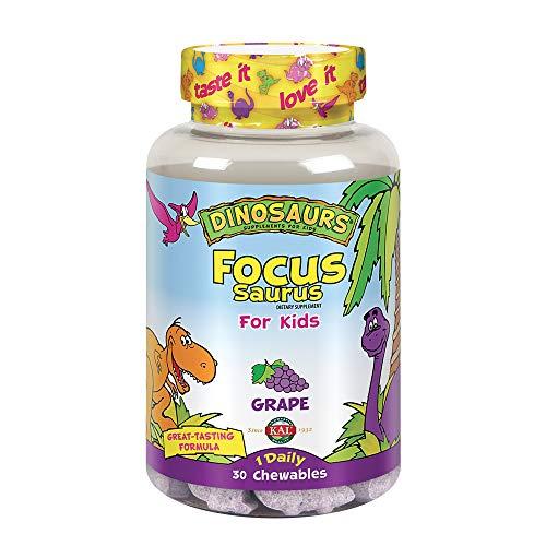 Vitamins Kal Chewable (KAL® Focus-Saurus | Focus Support for Kids | Amino Acid, Antioxidant & GABA Focus Blend for Children | Sugar Free, Grape Flavor Chewables | 30 ct)