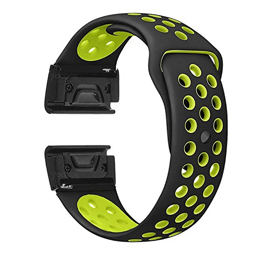 YOOSIDE for Fenix 5X/5X Plus Watch Band,26mm Easy Fit Soft Silicone Quick Release Replacement Band Strap for Garmin Fenix 3/3 HR/Fenix 5X/5X Plus/D2/ Descent Mk1,Fit Wrist 6.1~9.4(Black Green)