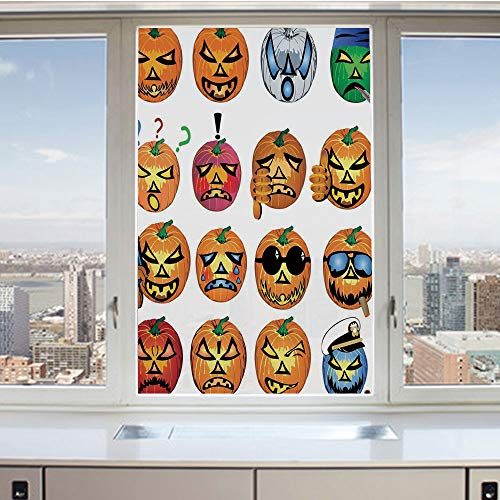 3D Decorative Privacy Window Films,Carved Pumpkin with Emoji