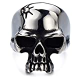 Stainless Steel Mens Gothic Biker Jewelry Skull Ring Oxidized Black 29mm(13)