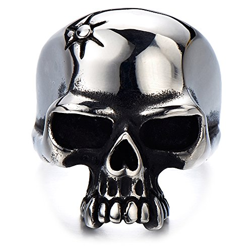 Stainless Steel Mens Gothic Biker Jewelry Skull Ring Oxidized Black 29mm(11)