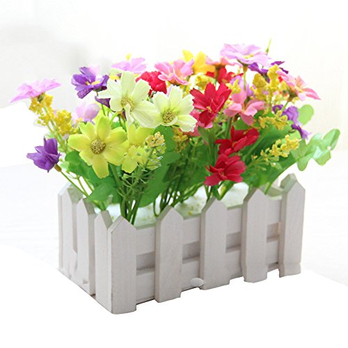 Lopkey Artificial Flowers Home Decorative Simulation Small Potted Plant Fake Chrysanthemum In Bonsai Set with Picket Fence