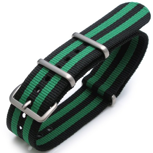 22mm G10 Nato James Bond Heavy Nylon Strap Brushed Buckle - J08 Double Black & Green by 20mm NATO strap (Image #1)