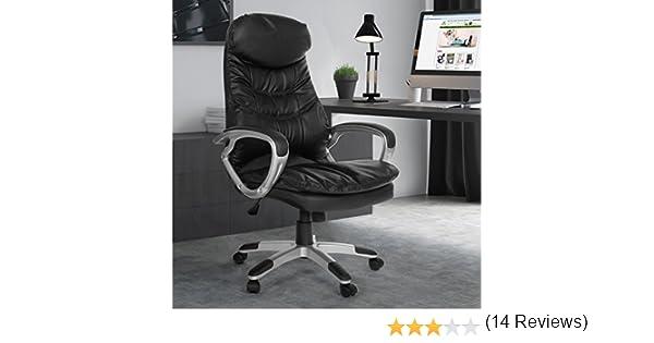 Miadomodo - Silla de oficina negra de piel sintética giratoria: Amazon.es: Oficina y papelería