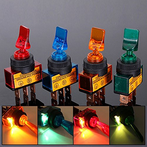 GVDOR 12VDC 20A Car Boat Marine Two Position ON/OFF SPST 0.47' Mount Illuminated Flick Toggle Switch Mix Color Pack of 4