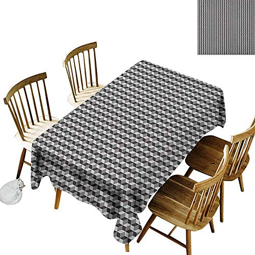 DONEECKL Geometric Waterproof Tablecloth Polyester Tablecloth Herringbone Zigzags Stacked Cubes Pattern Greyscale Illustration Black Grey and Pale Grey W52 xL70
