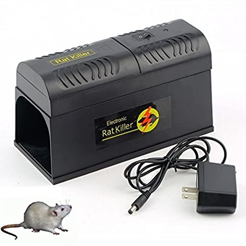 Humane High Voltage Electronic Rat Trap & Electric Mouse Mice Rodent Killer Trap Zapper Pest Control - The Most Powerful Rodent Killer,3 Step Pest Control Plan - Bait - Wait - (Gopher Poison Machine)