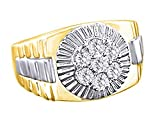 Wishrocks 14K Yellow Gold Over Sterling Silver White Cubic Zirconia Hip Hop Cluster Wedding Band Ring