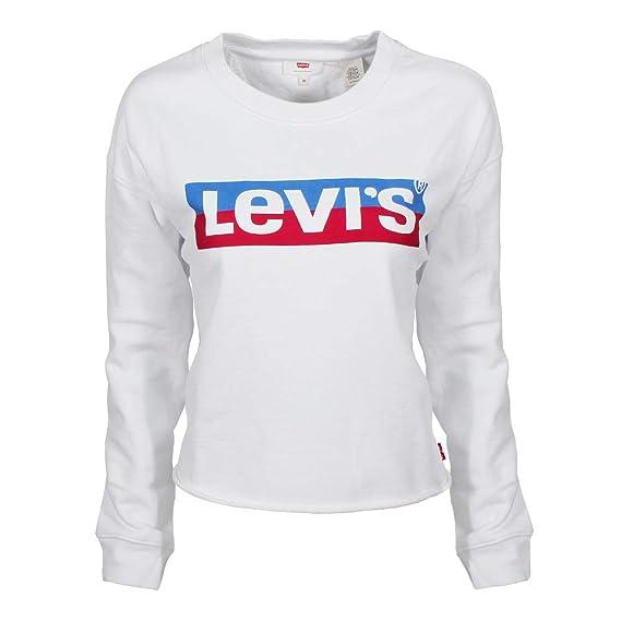 62780d0f0ab9cc Levi's® Women Jumpers Graphic Raw Cut Crew New Logo: Amazon.co.uk ...
