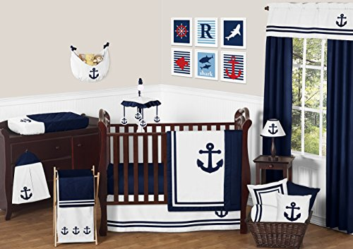 Away Crib (Sweet Jojo Designs 11-Piece Anchors Away Nautical Navy and White Boys Baby Bedding Crib Set Without Bumper)