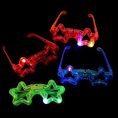 12ct LED Light Up Sunglasses - Flashing Multi Colored Led Glasses BEST PARTY FAVORS Light Up Flashing Glasses For Children (Star)