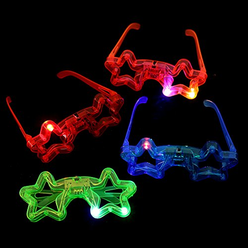 12ct LED Light Up Sunglasses - Flashing Multi Colored Led Glasses BEST PARTY FAVORS Light Up Flashing Glasses For Children - Child Glasses Stars With