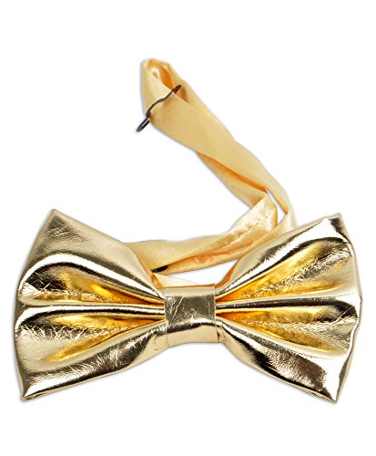 Men's Gold Faux Patent Leather Formal Pretied Bow Tie