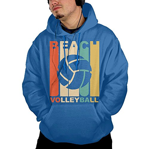 Obachi Vintage Beach Volleyball Men's Soft Long Sleeve Pullover Pocket Hooded Sweatshirt RoyalBlue Size - Htc S Case Otterbox One