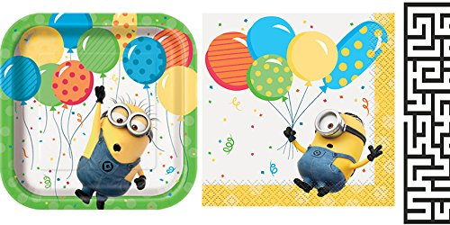 Unique Despicable Me, Minions Beverage Napkins and Dessert Plates Party Bundle - Includes 1 Maze Game Activity Card by ClassicVariety -