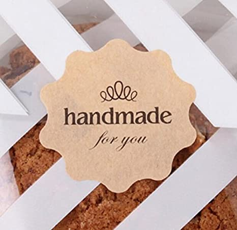 100pcs Hand made with love Seal Stickers for DIY Gift Cookie Packaging Labels  />