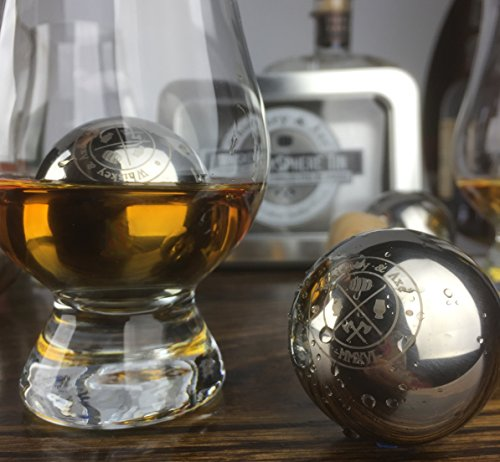 Whiskey & Axe - Premium Set of 6 Stainless Steel Ice Spheres - Chills Better than Whisky Stones - WhiskeySphere Tin by Whiskey & Axe (Image #3)