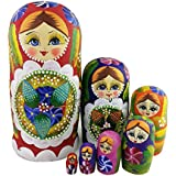 Winterworm 7pcs Red Flowers and Berries Wooden Russian Nesting Dolls Matryoshka Russian Doll