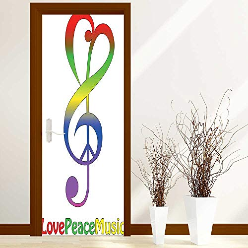 Stylish Waterproof Door Stickers Collection Love Peace and Music Clef Musical Notes Bass Old Sign Slogan Live for Living Room Decorations W36 x H79 inch